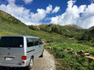 VW Campervan on a Mountain Road