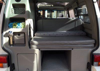 Rear storage in a Campervan