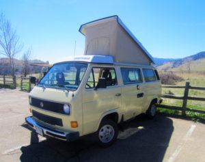 VW Campervan parked at trailhead
