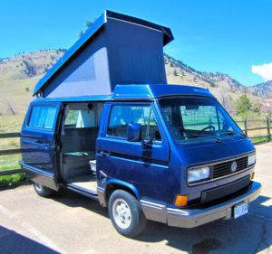 Volkswagen Campervan with top popped