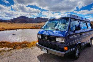 Rental Volkswagen Vanagon by a lake