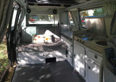Interior of a rental campervan