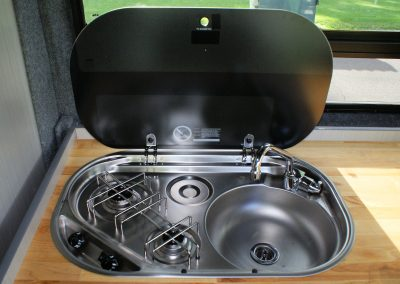 Sink and stove in a campervan