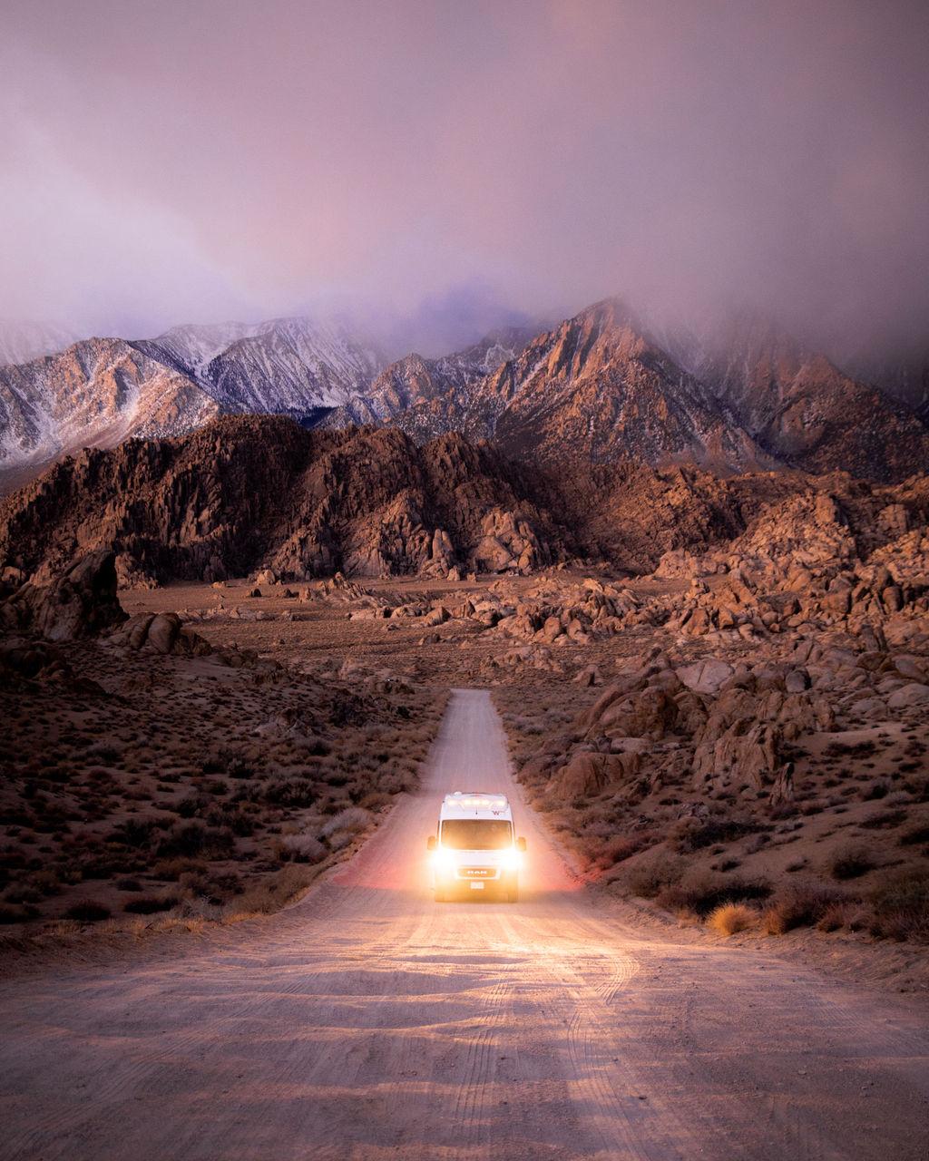 Campervan on dirt road